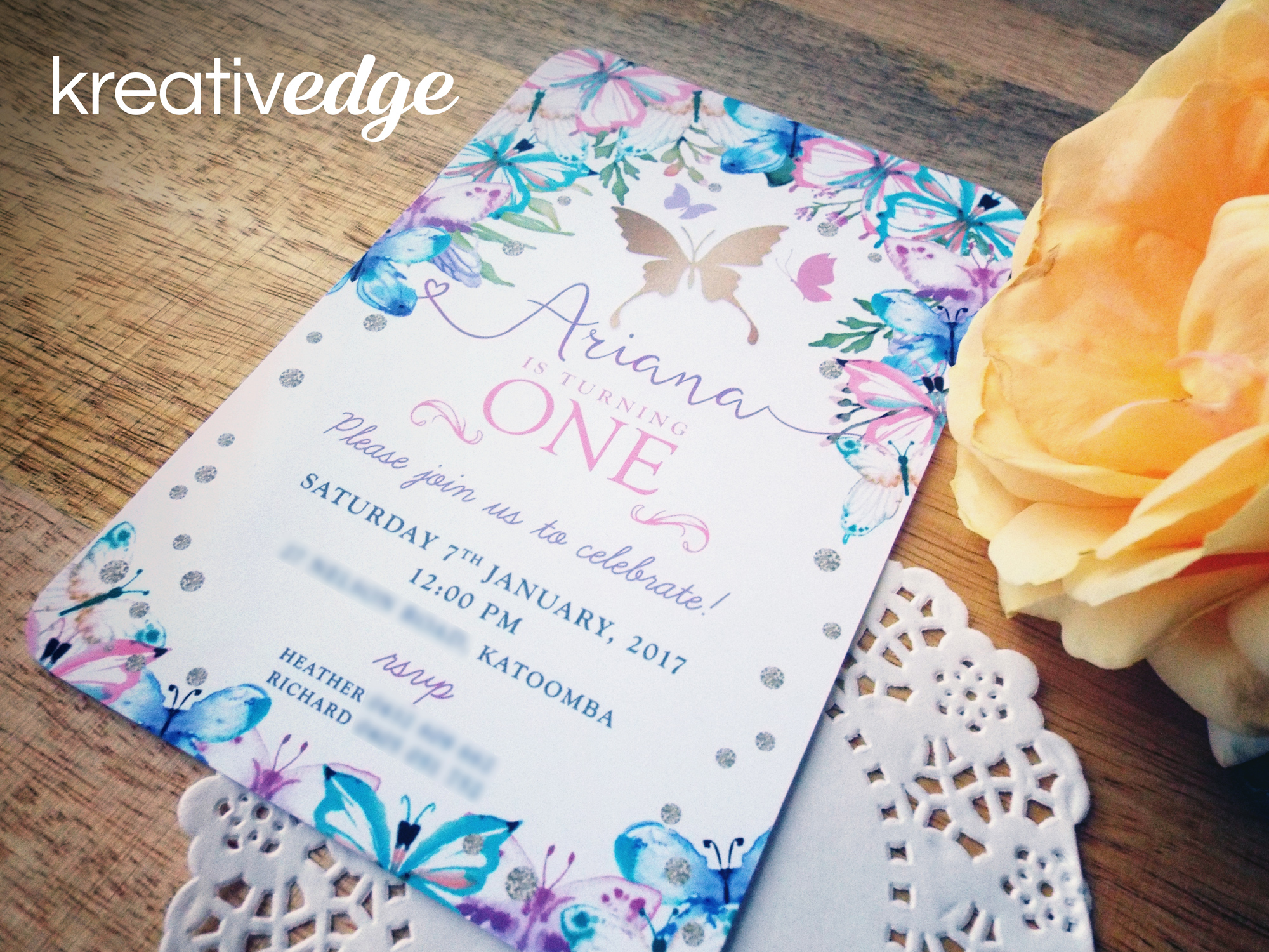 Beautiful Butterfly Invitation for Ariana's 1st Birthday