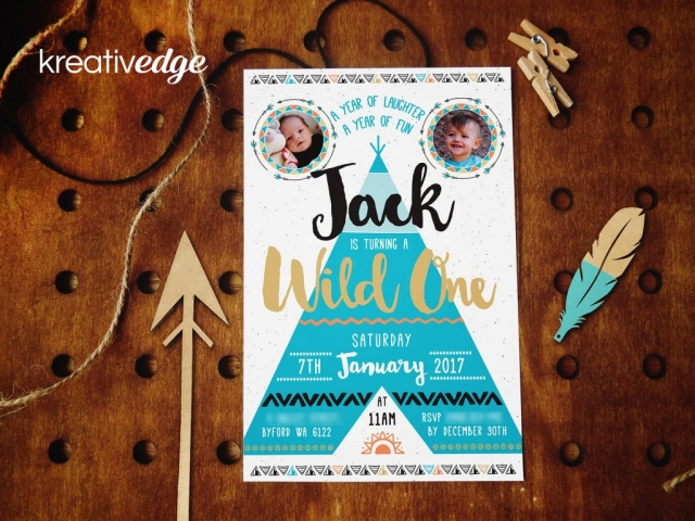 Boho Teepee Invitation for Jack's First Birthday
