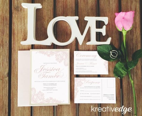 Pink Lace Wedding Invitation