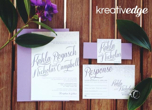 Purple Wedding Invitations for Kahla and Nicholas