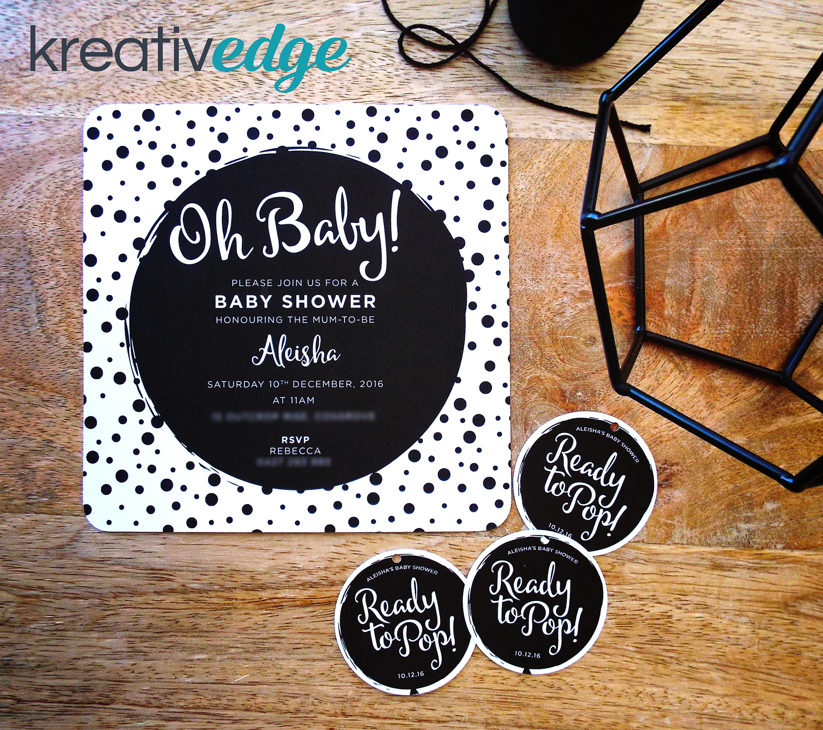 Monochrome Baby Shower invitation