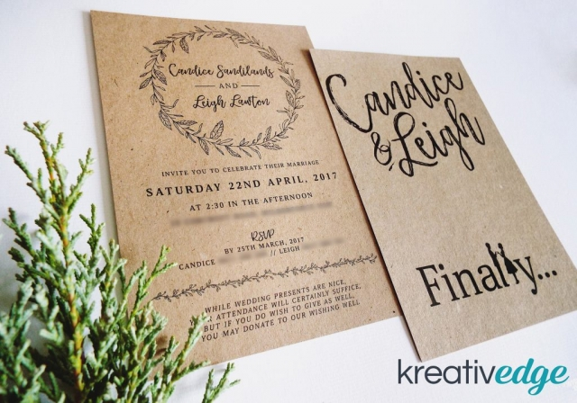 Kraft Rustic Garden Wedding Invitation