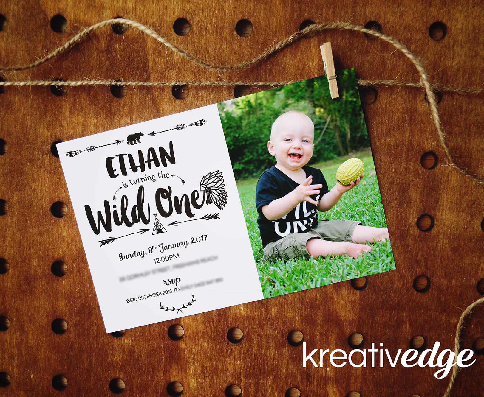 Boho Monochrome First Birthday Invitation