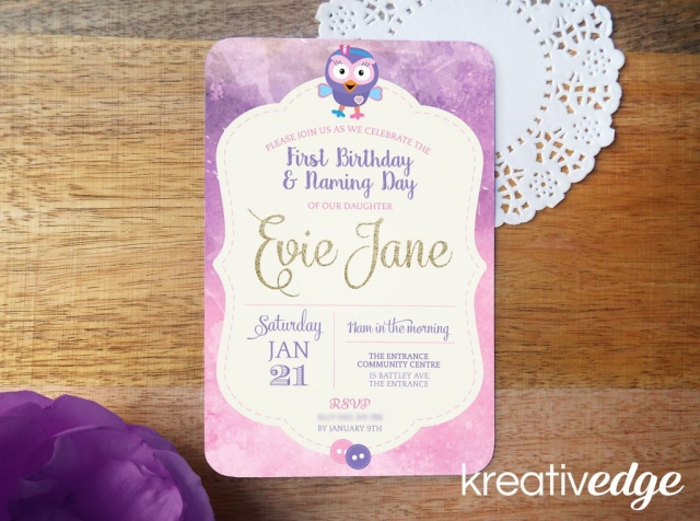 Giggle and Hoot Theme Hootabelle Invitation