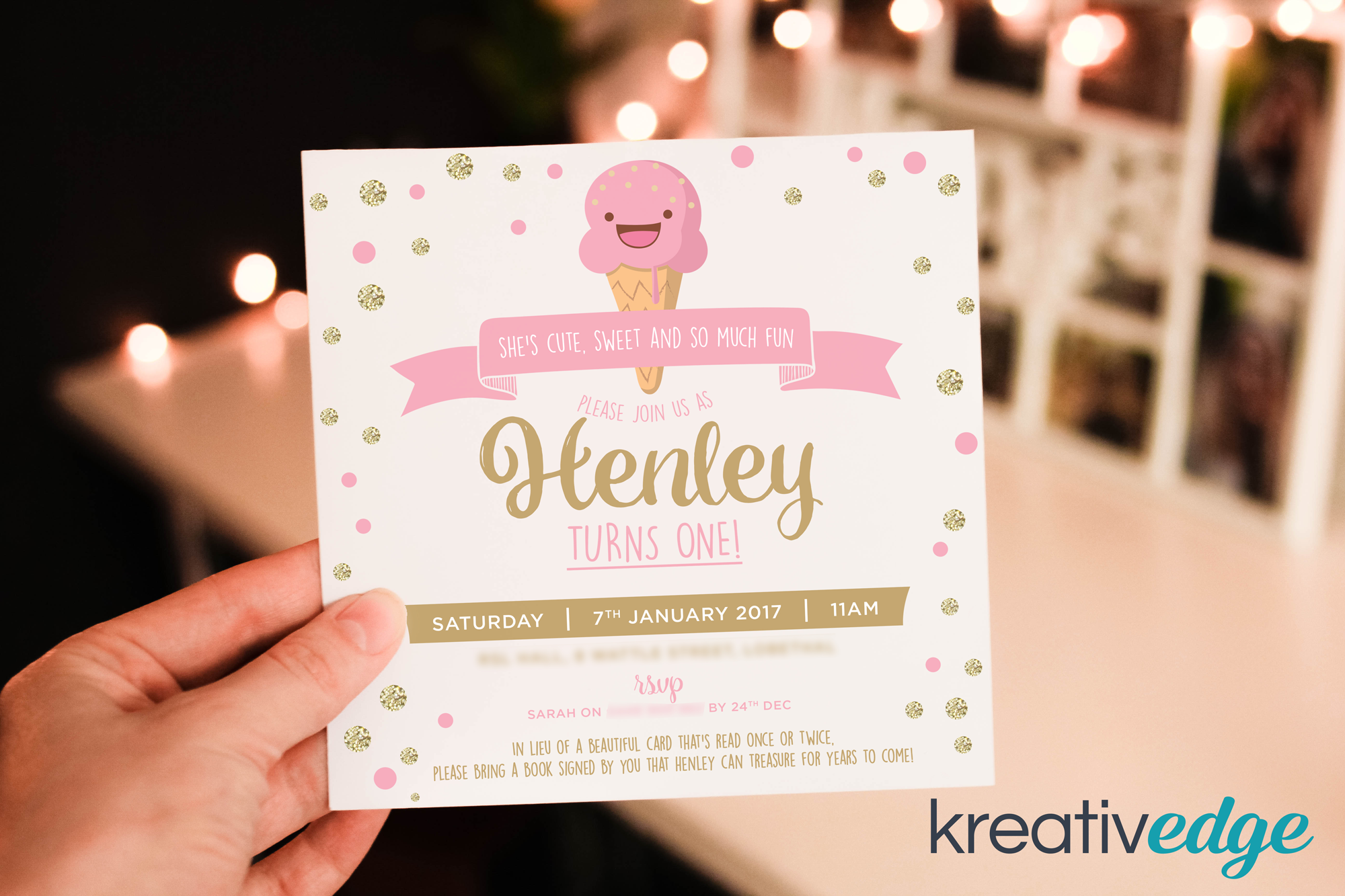 Pink and Gold Ice Cream Invitation for Henley's 1st Birthday