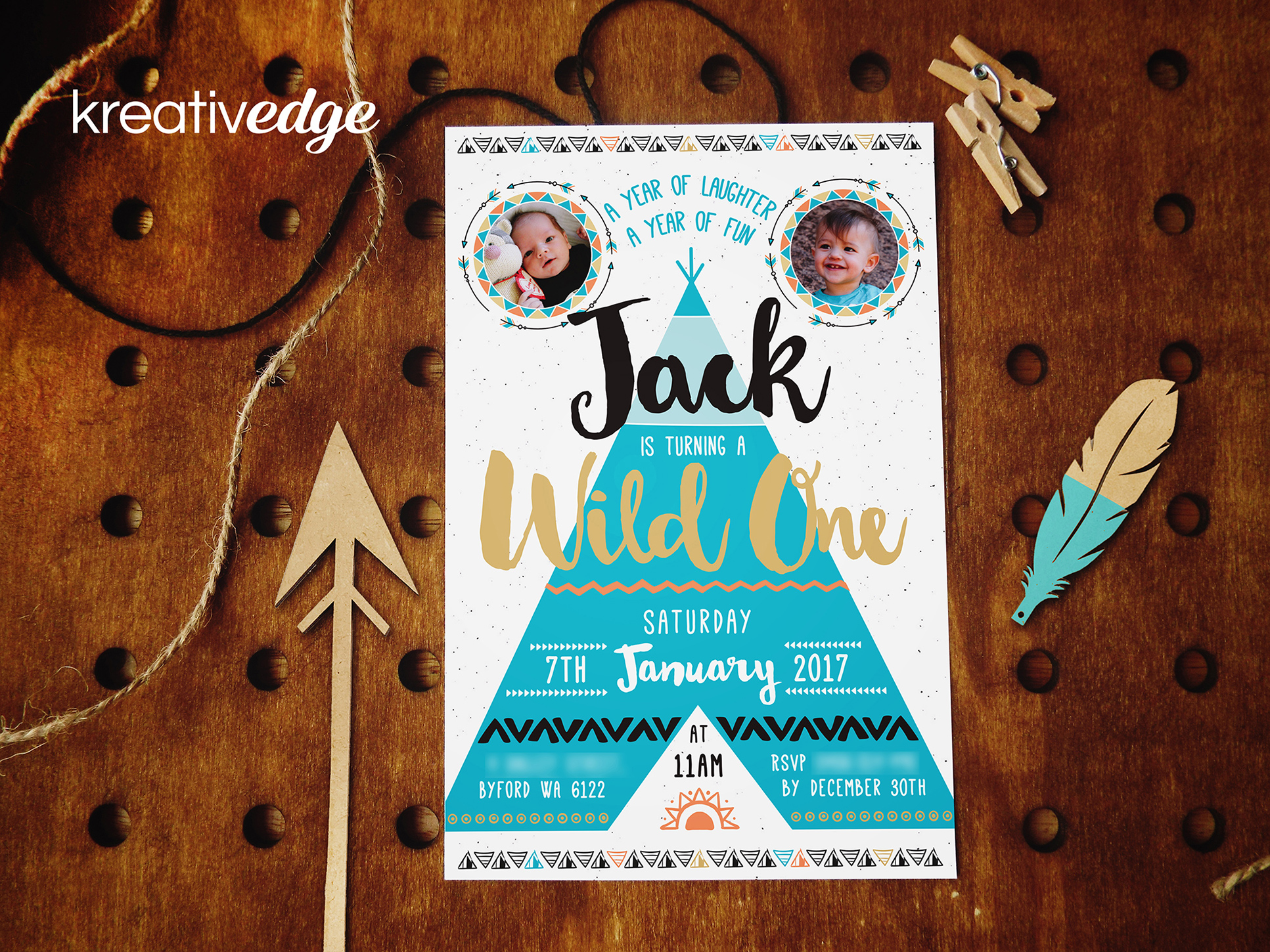 Boho Teepee Invitation for Jack's First Birthday