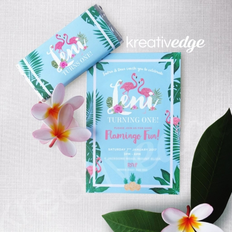 Tropical Flamingo theme birthday invitation