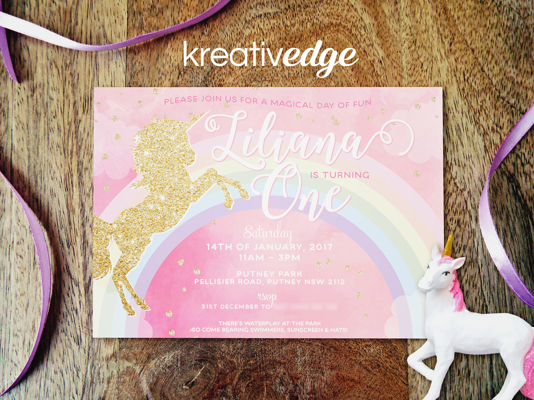 Unicorn Invitation for Liliana's First Birthday