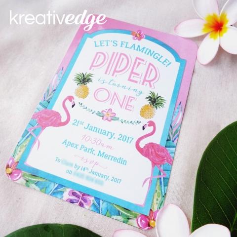 Tropical Flamingo and Pineapple theme invitation