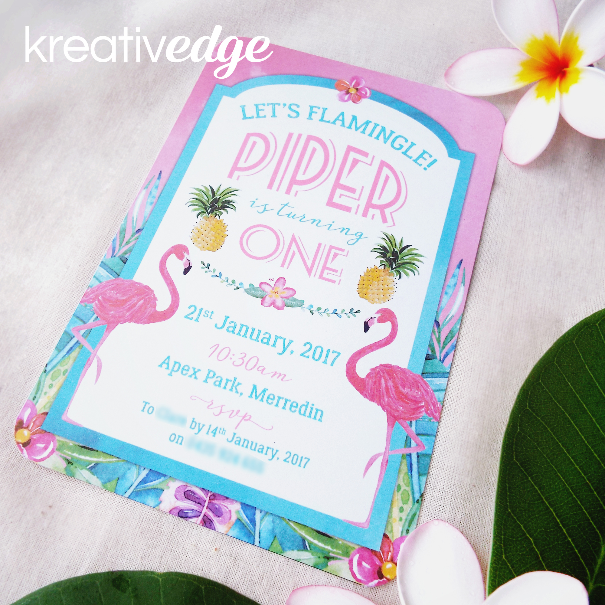 Tropical Flamingo and Pineapple theme invitation