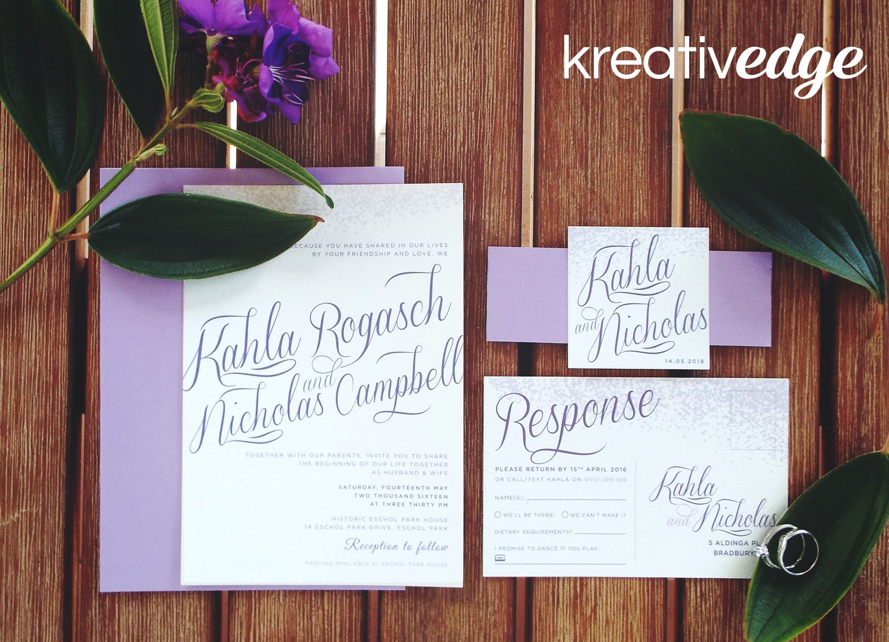 Purple Wedding Invitations for Kahla and Nicholas